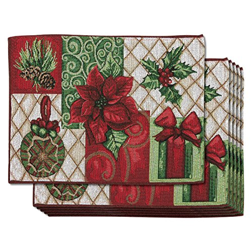 Juvale Pack of 6 Dining Table Placemats - Christmas Kitchen Table Mats - Poinsettia, Gift Box, Pinecone, Christmas Ornament Design - Essential Xmas Holiday Dining Decor, 13.4 x 17.5 Inches
