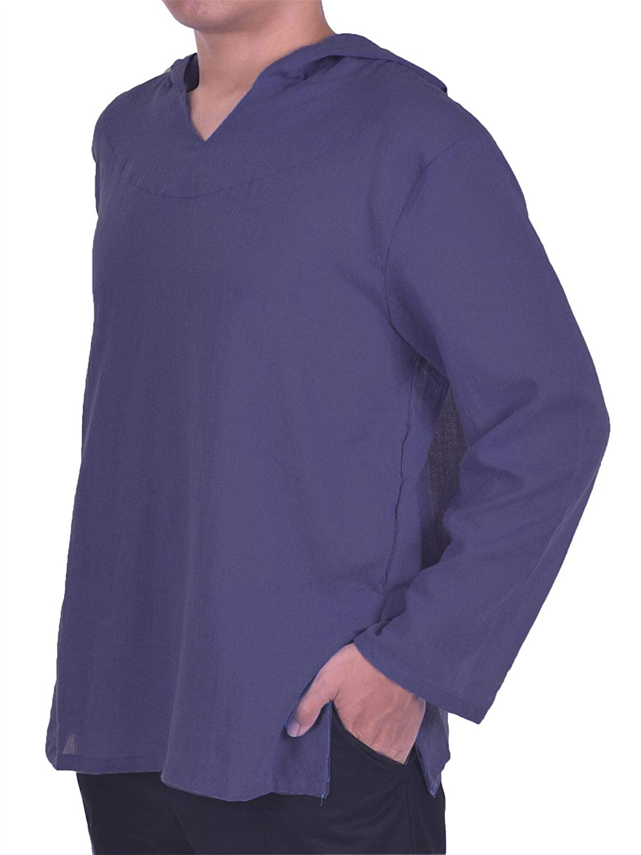 LOFBAZ Mens Hoodie Hippie Shirts Beach 100/% Soft Cotton Top Yoga Shirt Boho