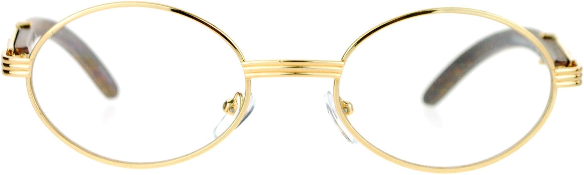 0c4c206245 Vintage Wood Buffs Fashion Eyeglasses Oval Frame Clear Lens Glasses UV400