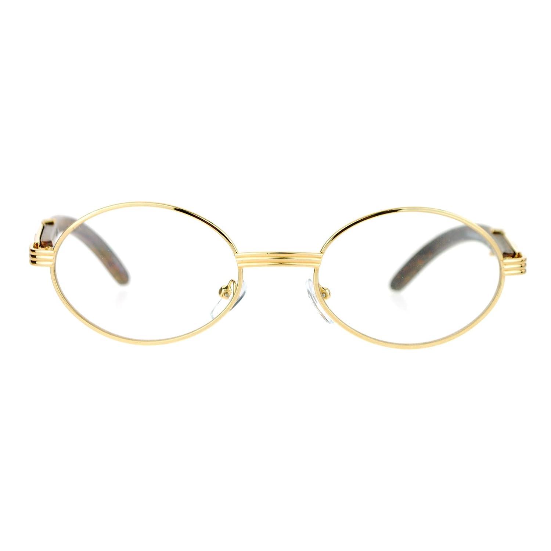 4eb9a38722c Amazon.com  Clear Lens Eyeglasses Unisex Vintage Fashion Oval Frame Glasses  Yellow Gold  Clothing