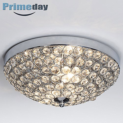 SOTTAE Elegant 2 Lights Bowl Shaped Mondern Crystal Shade Chrome Finish Bedroom Living Room Hallway Kids Room Crystal Chandelier, Ceiling Light In11.8