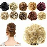 FESHFEN Scrunchy Scrunchie Hair Bun Updo Hair Ribbon Ponytail Hair Extensions Wavy Curly Messy Extensions Donut Hair Chignons Hair Piece Wig-22H613 Ash Blonde & Bleach Blonde