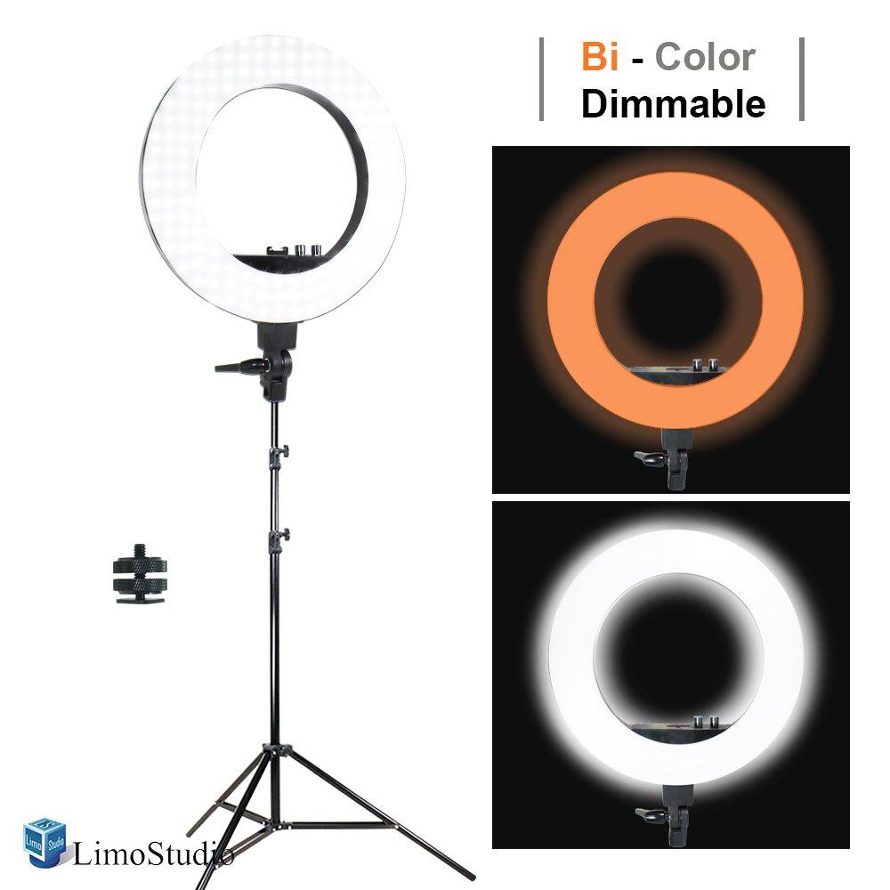 LimoStudio LED 18'' Ring Flash Light Dimmable SMD LED Lighting Kit 5500K Photography Photo Studio Light Stands, AGG1775