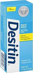 DESITIN Rapid Relief Zinc Oxide Diaper Rash Cream 4 oz