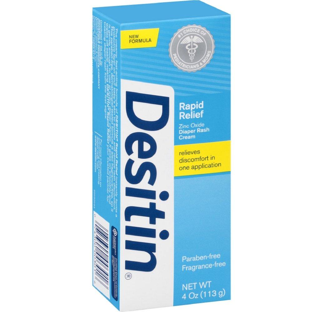 DESITIN Rapid Relief Zinc Oxide Diaper Rash Cream 4 oz ( Pack of 18)