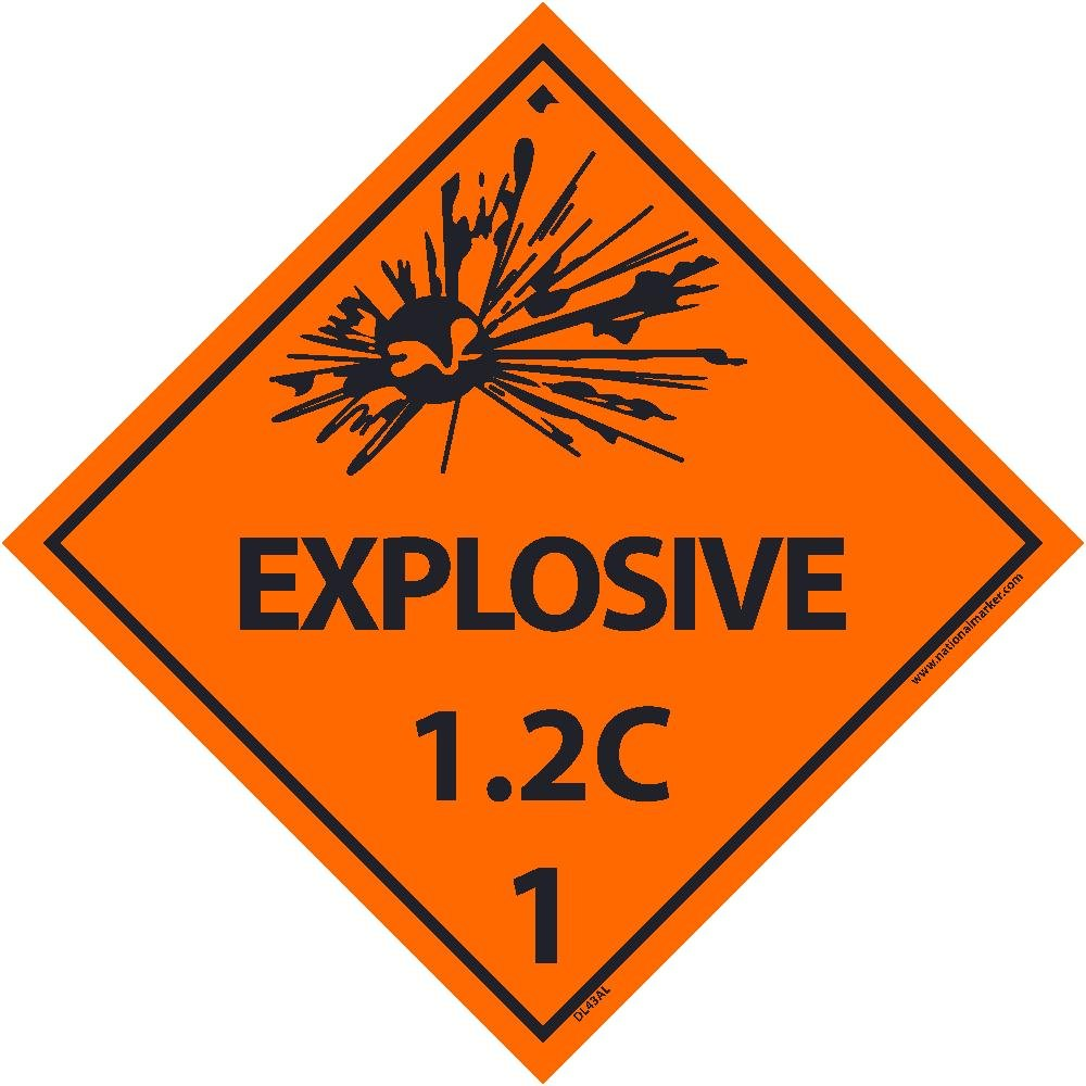 DL43ALV National Marker Dot Shipping Label, Explosive 1.2C, 1, 4 Inches x 4 Inches, Ps Vinyl 500/Roll