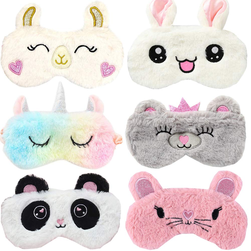 6 Pack Cute Animal Unicorn Sleep Mask for Girls Soft Plush Blindfold Cute Unicorn Rabbit Panda Alpaca Mouse Sleeping Masks Eye Cover Eyeshade for Kids Teens Girls Women Plane Travel Nap Night Sleeping by Yosbabe