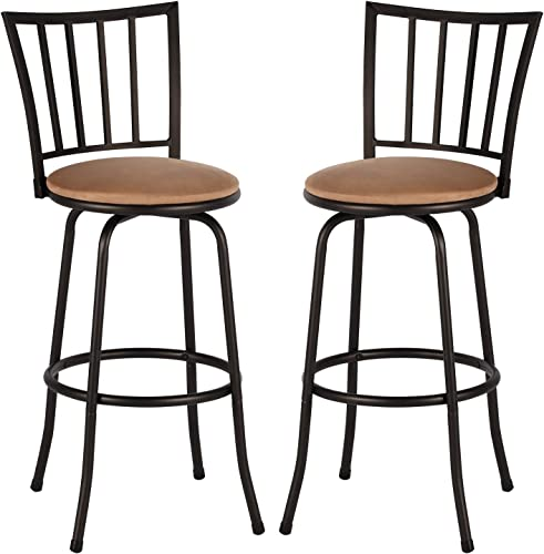 VECELO Modern Bistro Pub Chair 360 Degree Swivel Barstool Sturdy Steel Frame,Comfortable Round Leather Seat Cushions-Set of 2, Style A, Dark Brown