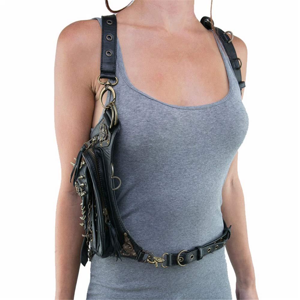 Fklee Black Gothic Rock PU Leather Steampunk Handbag Waist Pack Vintage Punk Shoulder Messenger Bag