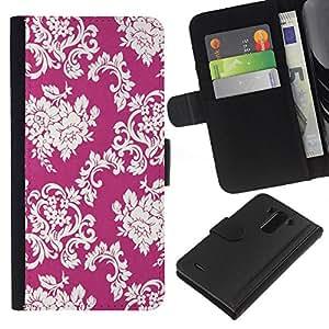 LG G3 / D855 / D850 / D851 Modelo colorido cuero carpeta tirón caso cubierta piel Holster Funda protección - Floral Pattern Vintage Wallpaper Flowers