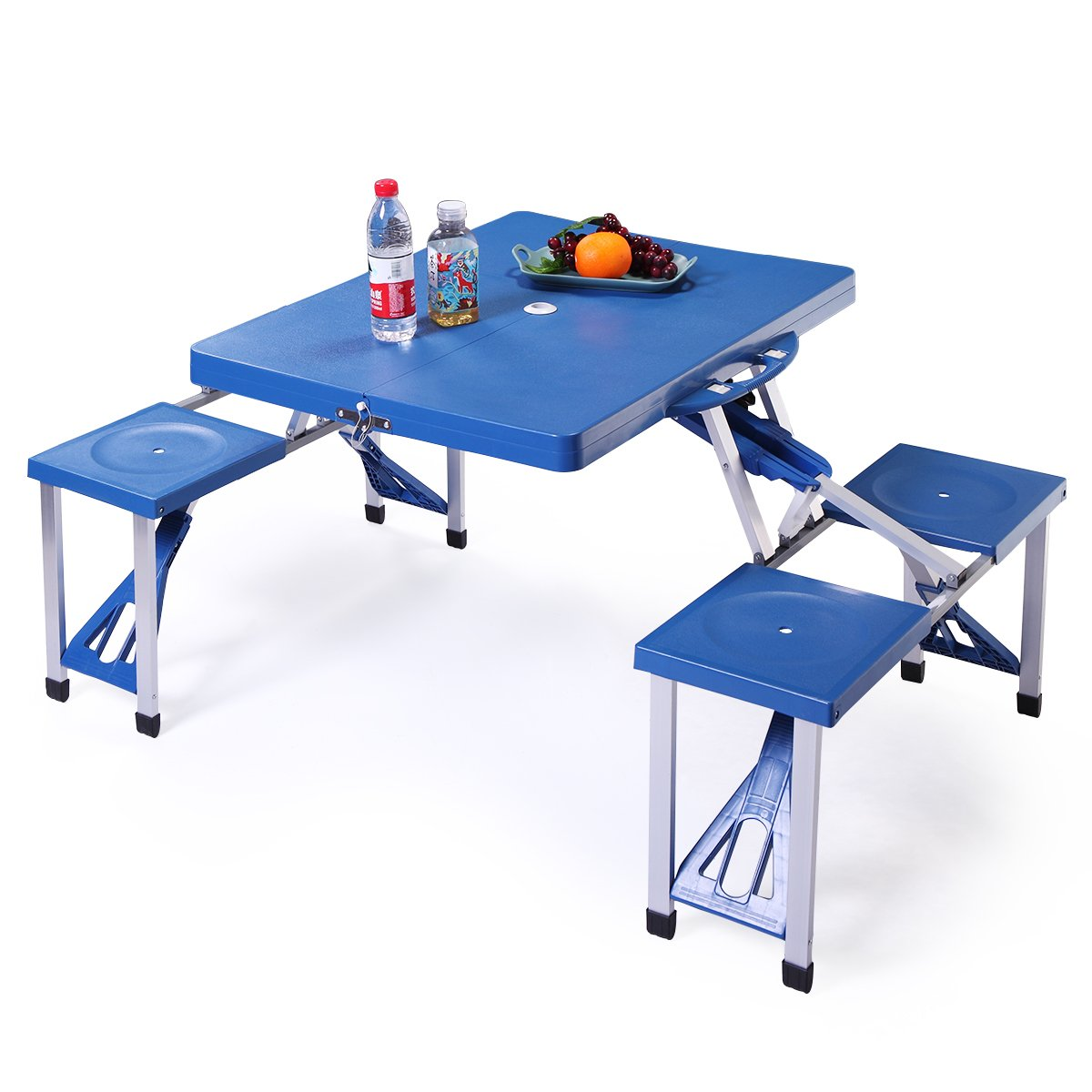 JAXPETY Portable Folding Plastic Camping Picnic Table 4 Seats Outdoor Garden W/Case Blue