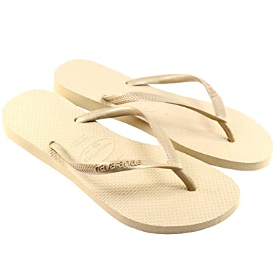6138ebd007e6c7 Image Unavailable. Image not available for. Color  Havaianas Womens Slim  Flip Flop Sandals - Sand Grey Light Gold - 7 8