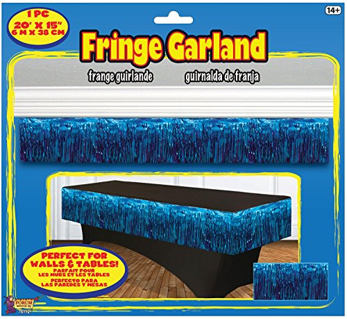 "Forum Novelties 76112 Party Supplies Tinsel Fringe Garland, 20"" x 15"", Blue"
