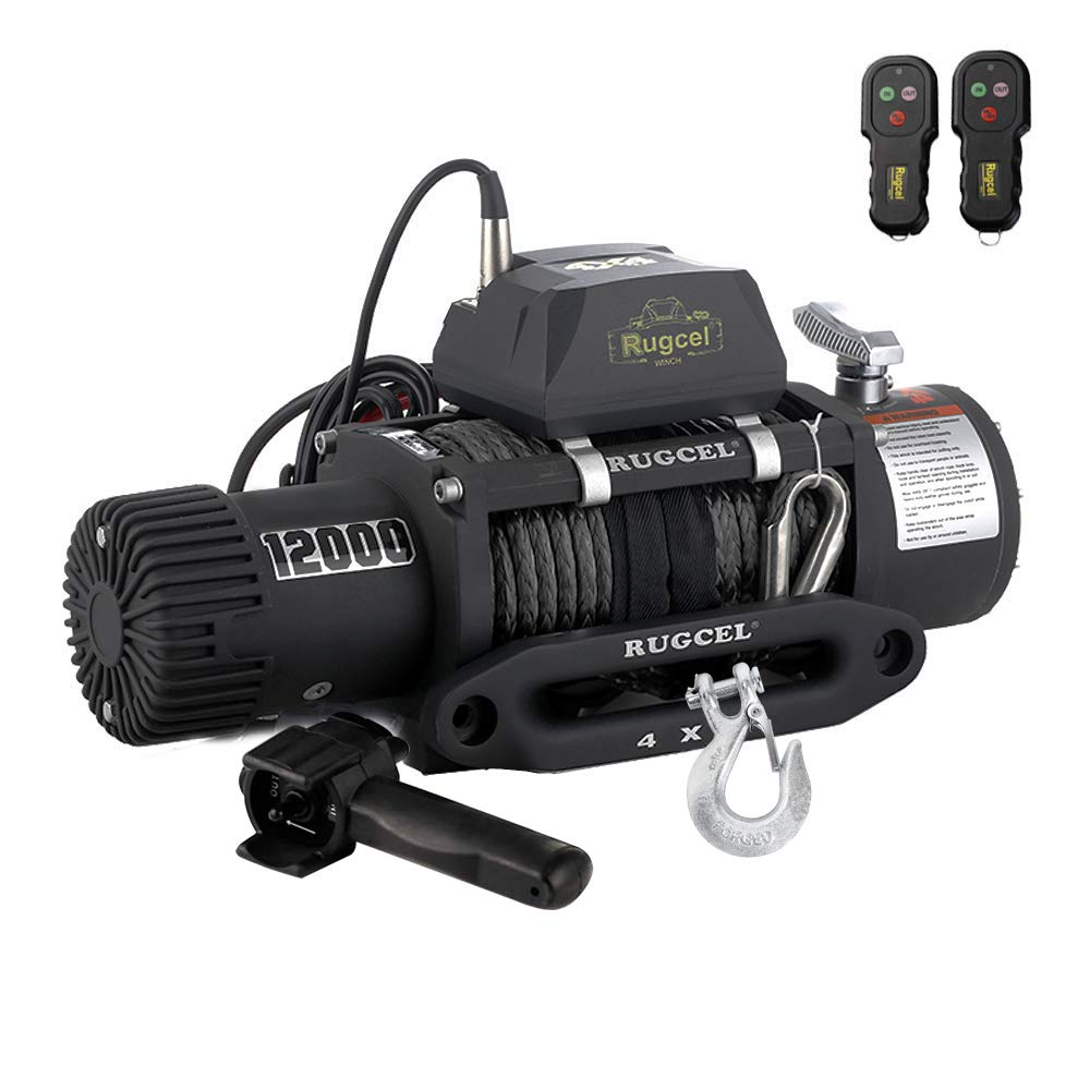 RUGCEL WINCH Waterproof IP68 Offroad Load Capacity 6.6Hp 12V Electric Winch with Hawse Fairlead, Synthetic Rope, 2 Wired Handle and 2 Wireless Remote (12000LB)