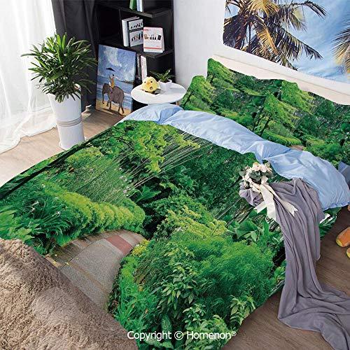 - Home Fashion Designs 3-Piece Set,Green Plants Trees in Singapore Asia Botanic Gardens Walkway Travel Destination Arboretum,Full Size,100% Microfiber Super Soft,Breathable,Green