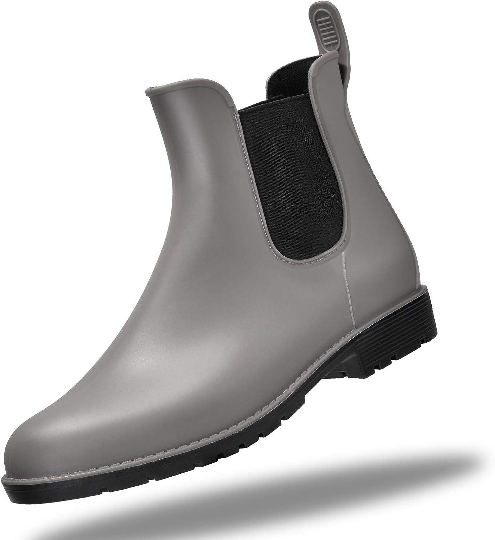 SCKONO Women's Ankle Rain Boots Anti-Slip Short Garden Shoes Waterproof Footwear Chelsea Booties