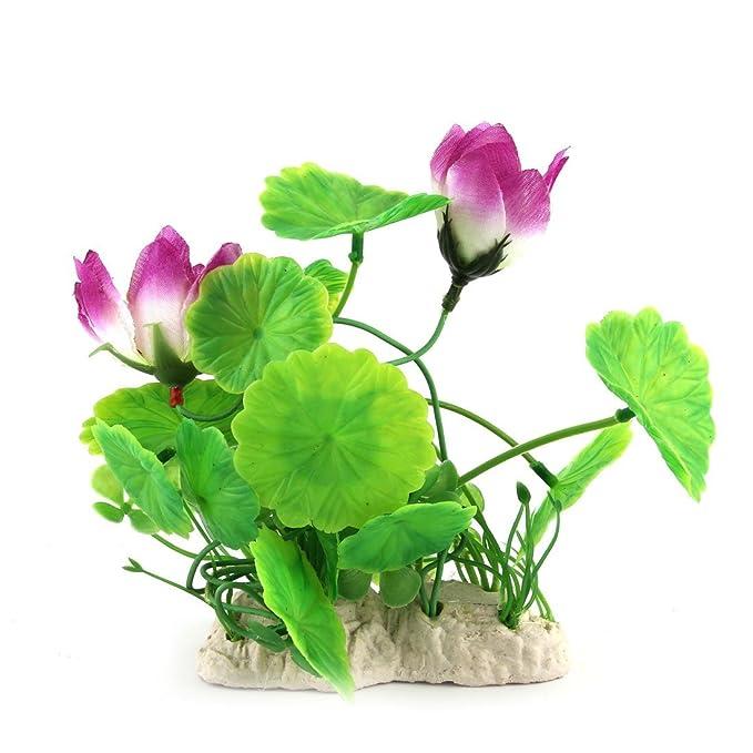 Amazon.com : eDealMax Forma acuario pecera de hoja de Loto emulación de agua de la planta Verde del ornamento púrpura : Pet Supplies