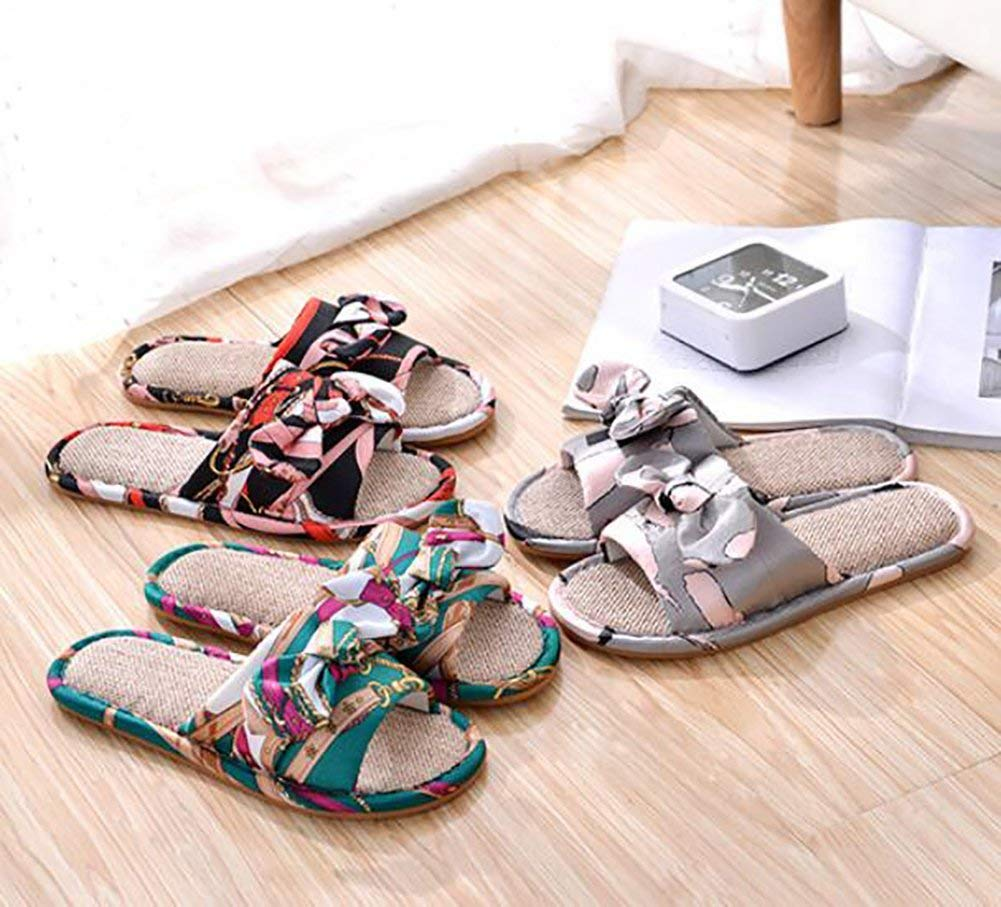 A Oudan Womens Indoor Slippers Butterfly Knot Homeheld Flat Anti-Slip Shoes Pair of Slippers 40//41 Color : B, Size : 36//37