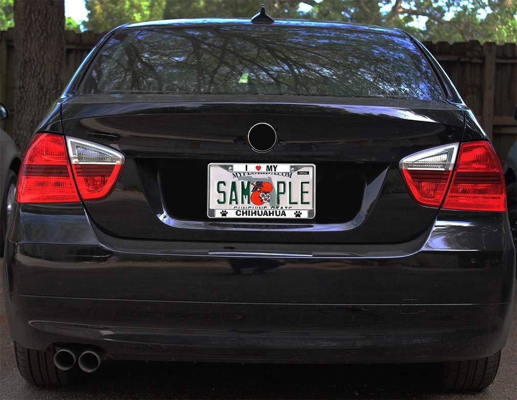 "330 Chrome License Plate Frame /""I Heart My Chihuahua/"" Auto Accessory Novelty"