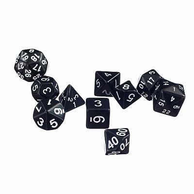10 Piezas Juguetes Dados de Varios Lados TRPG Dungeons & Dragons Negro: Juguetes y juegos