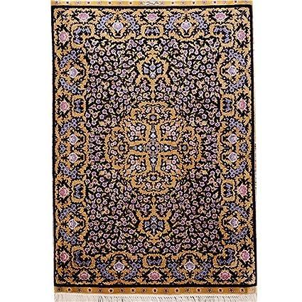 Yilong 2'x3' Handmade Turkish Silk Carpets Vintage Oriental Floral Home Area Rugs