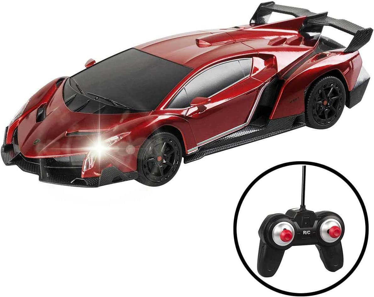 QUN XING RC Cars Remote Control Car Licensed by Lamborghini Veneno Vehicle Sport Racing Hobby Grade Model Car 1//24 Scale for Kids Adults Red