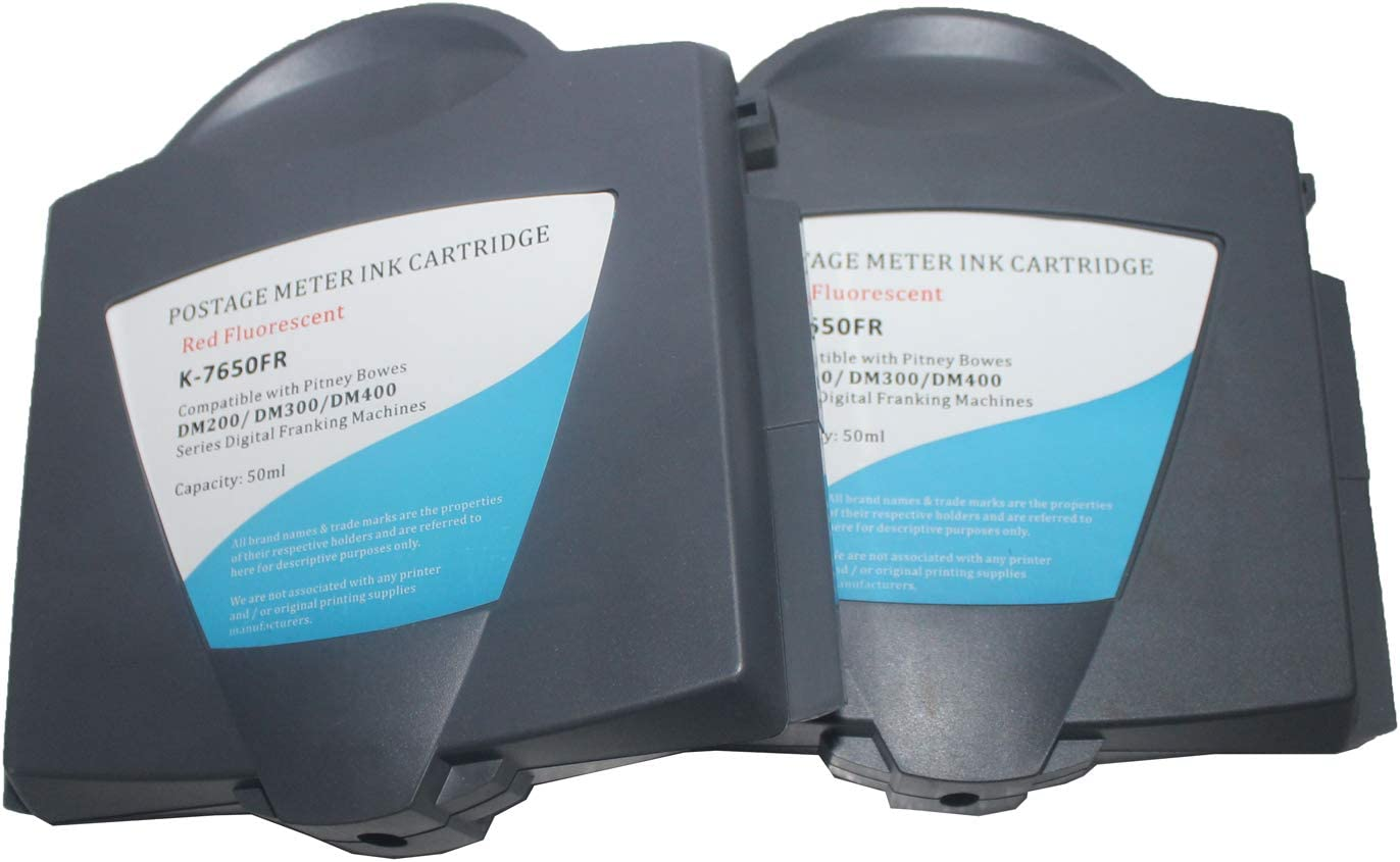 KLDink DM300 Postage Meter DM250 Ink DM225 Ink 2-PK Compatible Fluorescent Red Ink Cartridge Replacement for Pitney Bowes DM200 Ink