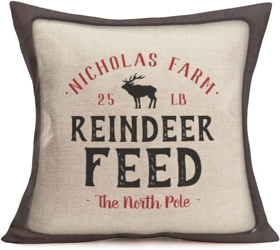 Aremetop Vintage Quote Pillow Covers Decorative Cotton Linen Inspirational Letters Saying Wood Frame Throw Pillow Case Cushion Cover 18''x18'' for Sofa Couch (Reindeer Feed-Nicholas Farm)