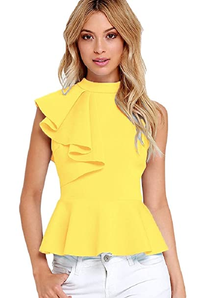 Queenie Visconti Women Summer Tops And Blouses With Ruffles High