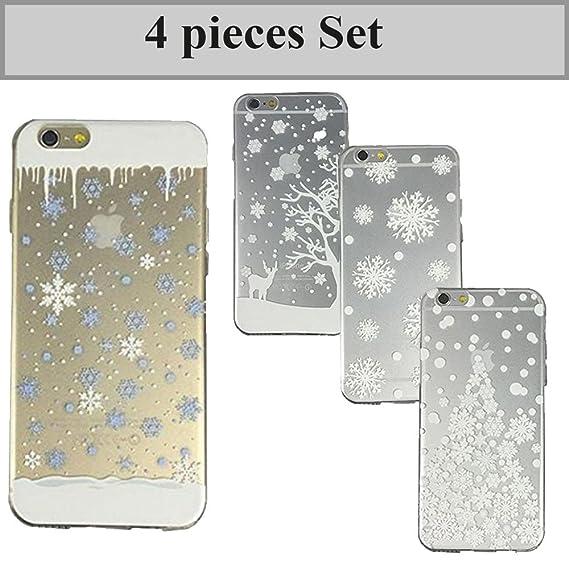 sports shoes 5e277 ba976 iPhone 6 / 6s Case, Ultra Slim Translucent TPU Transparent Bumper Silicone  Clear Case Gel Cover Winter White Christmas (4pcs Set)