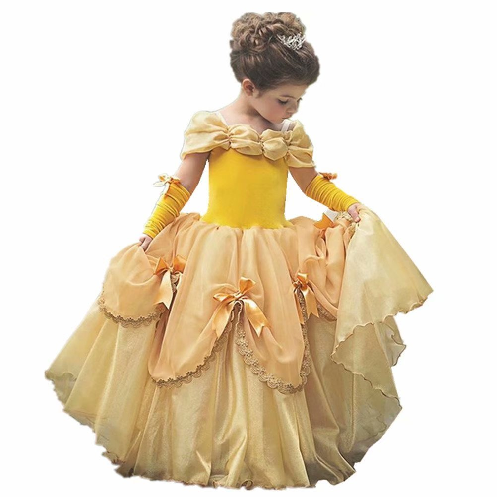 Girls Princess Belle Costume Dress up Yellow Gowns with Gloves for Holloween Party