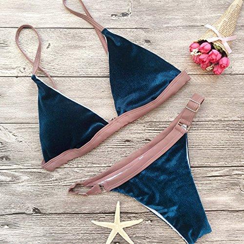 Bikini, KEERADS 1 Conjunto Bikini Conjunto Traje De Baño Push-Up Acolchado Sostén Traje De Baño De Playa Verde