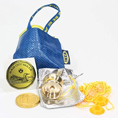 Rain City Skills Loonie Yo-Yo - Brass Micro YoYo with Extras! (Brass): Toys & Games