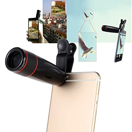 db11541e8b6ec0 Proplay™ Mobile Phone Camera Lens, 12X Optical Zoom Macro Lens Focus  Telescope with Blur Background Effect and Adjustable Clip Holder for All  Android ...