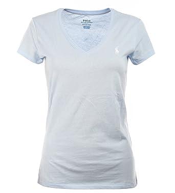 Grösse T Shirt Damen Ralph Hellblau Lauren Polo V Ausschnitt xCXxAY8wq