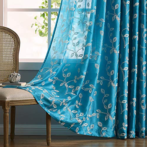 LALA & WONZ Faux Silk Semi Sheer Curtains for Bedroom, Floral Embroidered Grommet Sheer Window Curtains for Living Room, 52 x 84 Inch Long, Turquoise, 2 Panels. ()