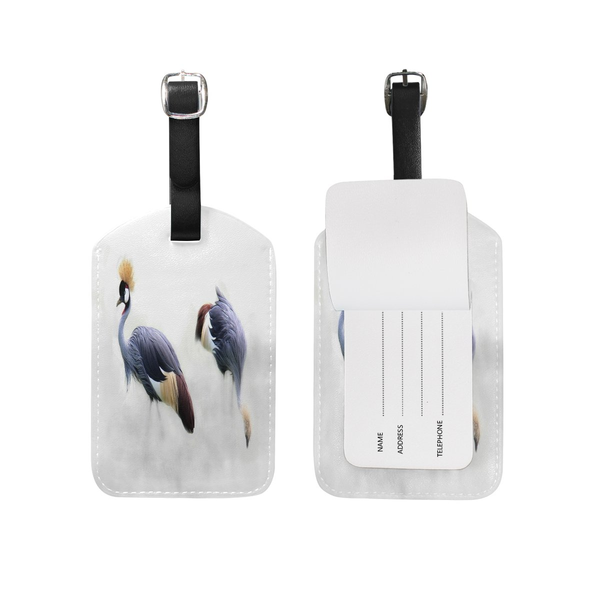 1Pcs Saobao Travel Luggage Tag Grey Red-Crowned Crane PU Leather Baggage Suitcase Travel ID Bag Tag