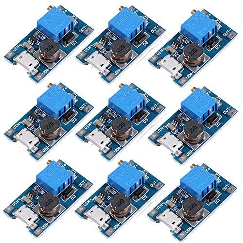 Icstation MT3608 Mico USB DC Voltage Regulator Step Up Boost Converter Power Supply Module 2V-24V to 5V-28V 2A (Pack of 10) by IS
