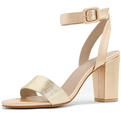 Amazon.com | Allegra K Woman Open Toe Chunky High Heel Ankle Strap ...