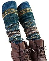 Women Lady Fashion Leg Warmers Knit legging,rhombus grid,cyan