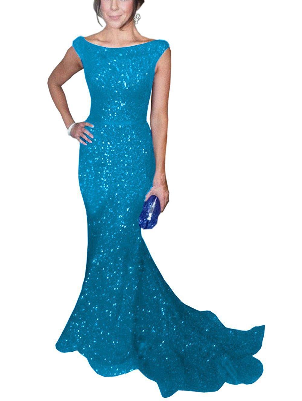 Teal Blue Mermaid Prom Dresses: Amazon.com