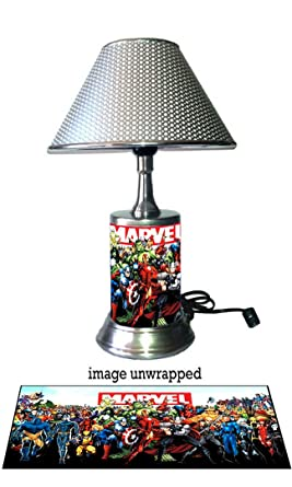 Elegant Marvel Comics Characters Lamp With Chrome Shade