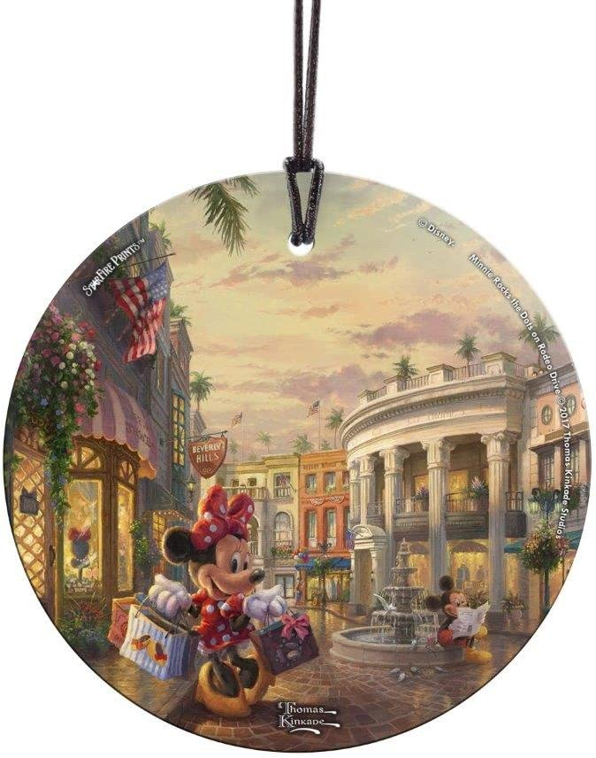 Amazon Com Trend Setters Minnie Mouse Rocks The Dots On Rodeo Drive Starfire Prints Hanging Glass Home Kitchen
