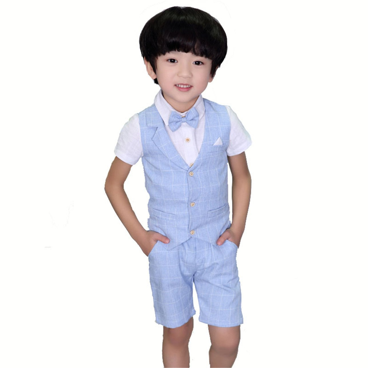 HZMY Boy's Leisure Summer Suit 4 Pieces Shirt,Vest Shorts (8, Blue)