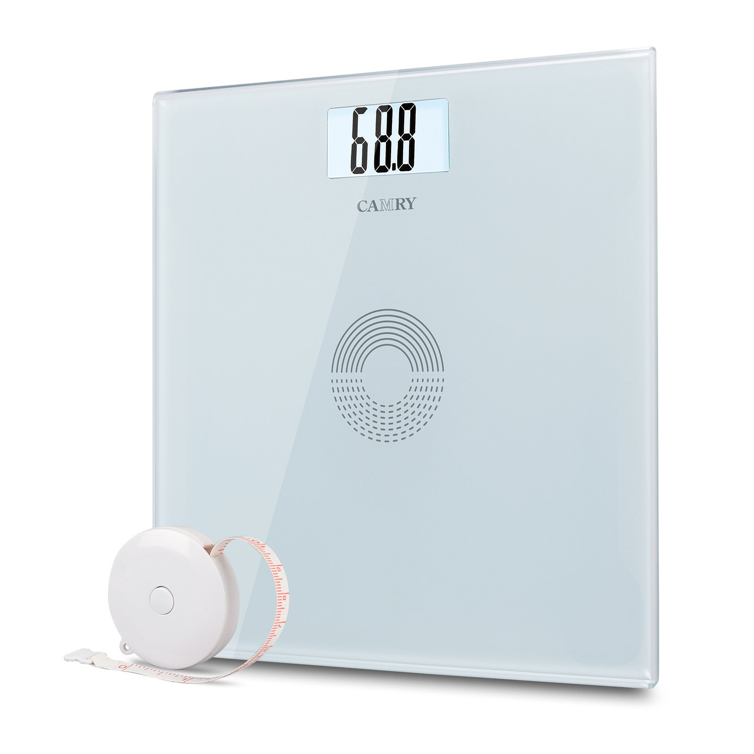 Camry Digital Body Weight Bathroom Scale with Body Tape Measure,13.7inch Larger Platform, Step-on Technology,Tempered Glass and Large Easy Read Backlit LCD Display 440 pounds (White) EB9233H-NF-W