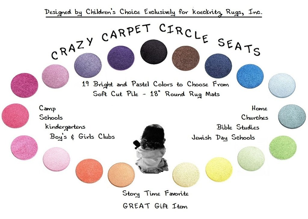 """24 Rainbow Kids CraZy CarPet CirCle SeaTs 18"""" Round Soft Warm Floor Mat - Cushions 