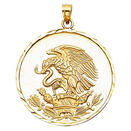 Million Charms 14k Yellow Gold Eagle Charm Pendant (30mm x 30mm), with 18