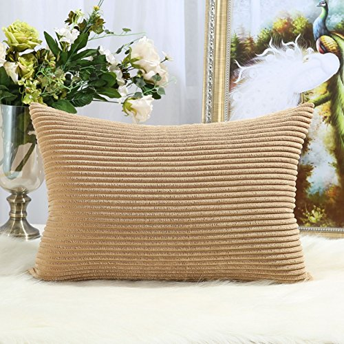 Miaote Decorative Striped Corduroy Throw Pillow Covers Cases for Couch Bed Sofa,Supersoft Velvet Cushion Covers for Baby, 12 X 20 Inches,Camel