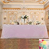 3E Home 60x126'' Sequin Tablecloth for Wedding Bridal Shower Party Decoration, Iridescent