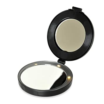 mirror on a stand vanity. Floxite Compact  Mini Vanity Mirror Magnifies 10x with LED lights and stand Amazon com